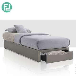 BASIC 3.5′ super single fabric divan bed with drawer storage