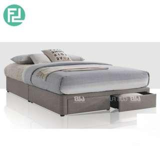BASIC 5′ queen size fabric divan bed with drawer storage