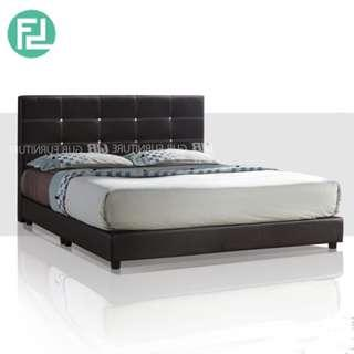 1001 king size 6′ PU divan bed with diamond- dark brown