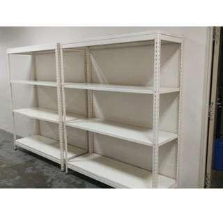 Two white color  steel  shelves