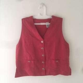 Pink Loose Vest / Outer / Top
