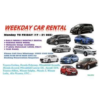 17 - 21 DEC (MON-FRI) WEEKDAY CAR RENTAL