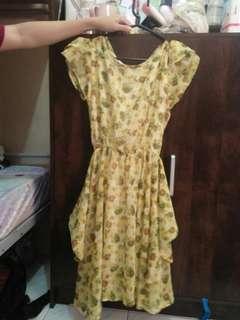 Dress kuning motif bunga murah