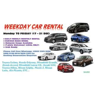 CAR RENTAL SERVICES 17 - 21 DEC (MON-FRI)