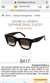 Authentic celine small Catherine sunglasses
