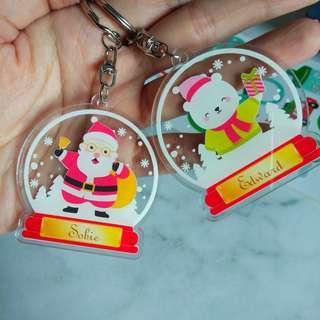 Custom Personalised Keychain / Key Rings - Snow Globes