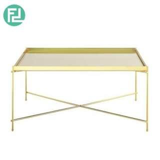 OAKLLEY mirror top coffee table with metal legs-gold colour