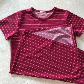 red tshirt striped dress
