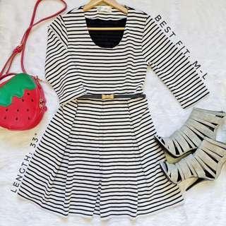 505 || Stripe BW 3/4 Dress