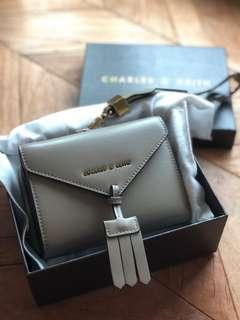 🚚 NEW! BNWT Charles and Keith Tassel Detail Wallet in Taupe