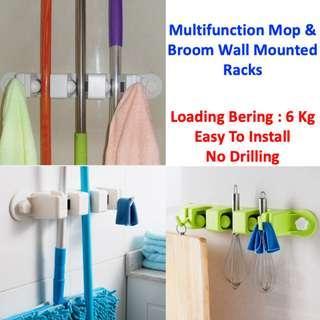 Multifunction Mop & Broom Wall Mounted Racks