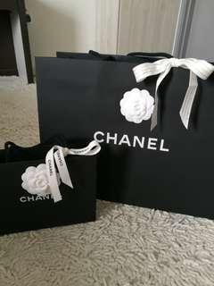 AUTHENTIC CHANEL Chanel Paperbag paper bag camelia camellia flower ribbon new big small black