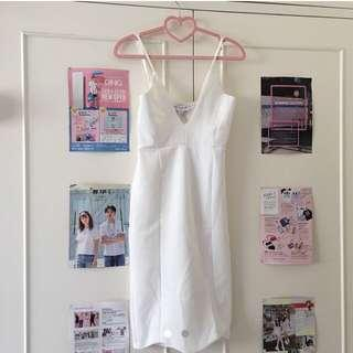 NEW Sunday the Label White Plunge Mini Dress Size 8