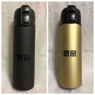 BNIB Brand New Branded Uniqlo High Quality Stainless Steel Gold Black Thermal Water Bottle 500ml