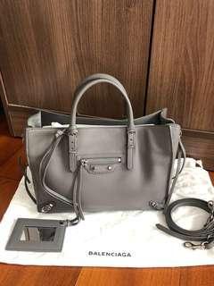 Balenciaga Mini Papier A4 Zip Around Tote / Crossbody Bag in Grey