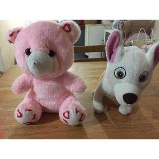 2 Stuffed Toy (Teddy Bear & Bolt Dog)