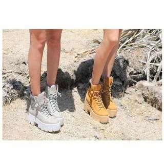 (全新) 歐美粗跟厚底短靴 綁帶厚底靴 高跟厚底鞋 鋸齒大底 厚底馬丁 KOUZOU vii&co