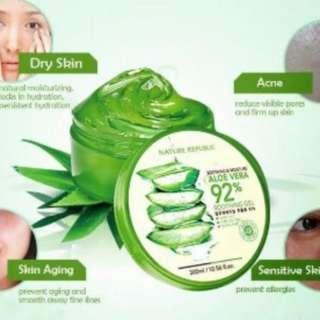Nature Republic Aloe Vera 92% Soothing Gel 300ml 100% Original Ori Korea PO 10-15 days