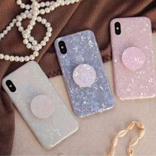 Pearl case with popsock / CASE IPHONE / CASE OPPO