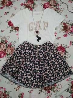 Women Flower Short Skirt Import Korea Style Skirt Rok Mini Gaya Anak Sekolah Korea Bunga