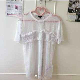 TOPSHOP NEW White Mesh Top