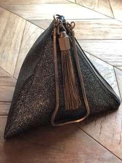 Red carpet celebrity approved!!! Charles and Keith Bronze glitter evening clutch bag