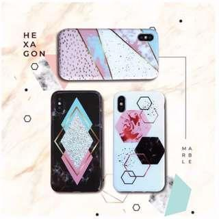 Hexagon marble / CASE IPHONE / CASE OPPO