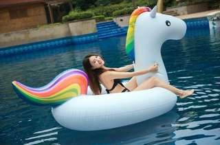Inflatable rose gold flamingo, unicorn, dolphin floating bed floating row swimming ring inflatable mount - intl