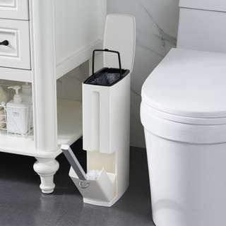 預購7~14天到貨/日式廁所夾縫帶蓋帶馬桶刷垃圾桶套裝