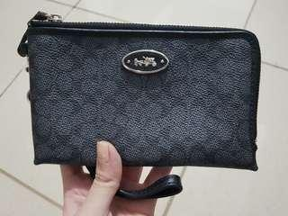 Coach black double zipper wallet