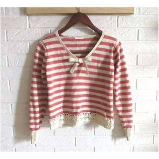 🚚 日本品牌 Pou dou dou 日本製甜美條紋毛衣 M