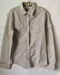 Collared Long Sleeves Work Shirt with Small Polka dot pattern
