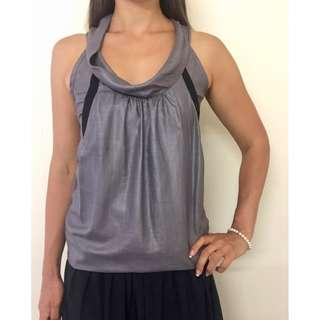 CUE Silver Black Cowl Neck Layered Sleeveless Blouse Sz 6