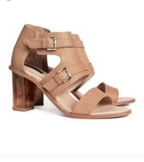 H&M brown strap block heels