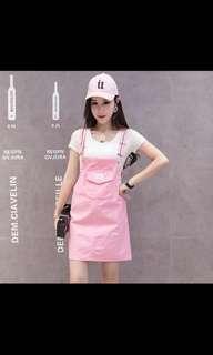 🚚 Sweet Pink Jumpsuit Skirt