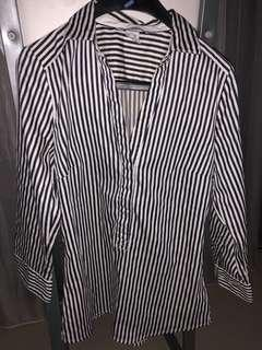 H&M Black and White Stripe Blouse