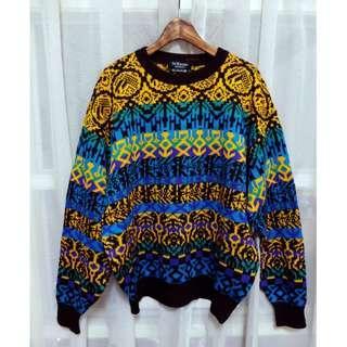 (古著) 日本製 彩色圖騰織紋厚實古著毛衣 日本古著 藍綠紫花紋 Morning Deer A Room Model