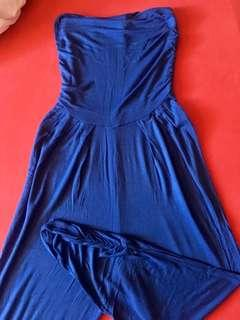Electric blue tube jumpsuits
