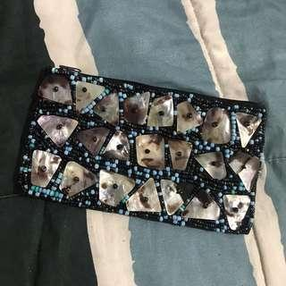 Sale! Beaded Mother of Pearl Pouch