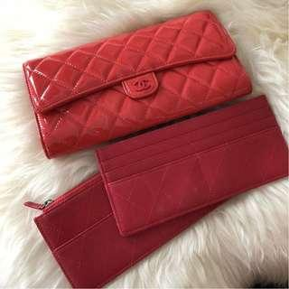 Chanel Patent Leather Long Wallet/Clutch with 2 Cardholders