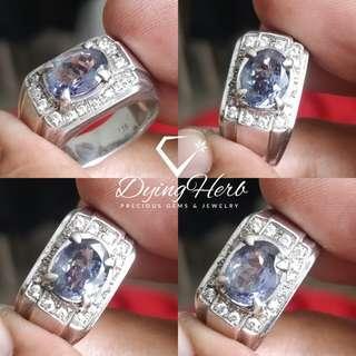 Natural Tanzanite Silver Ring ( Cincin Perak Tanzanite Asli)