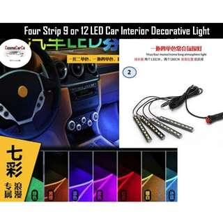 Four Strips Car Interior Decorative LED Light 9 LED Socket Charger Installation In Stock