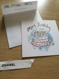 AUTHENTIC CHANEL greeting card birthday cake CoCo cc new Limited edition xmas Christmas seasonal greeting wish message luxury hand draw