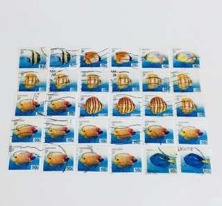 Fishes Old S'pore used stamps
