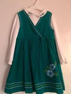 Blue Green Jumper Dress with white longsleeves