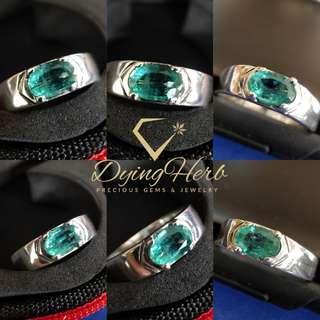 Natural Zambian Emerald Silver Ring (Cincin Perak Zamrud Zambia asli)