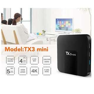 P12 Smar Android TV Box, 64 Bit 4K HD WIFI TX3 Mini Android 7.1 TV Box with Quad-core and Professional H.265 Video Decoding HDMI AV Output Ports, 1GB Ram 16GB Rom