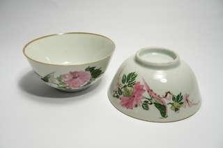 2pcs Vintage chinese antique hand painted flower and bird porcerlain bowl