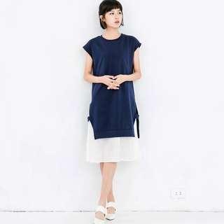 降價! (全新) a'Lady 氣質知性側開衩拼接雪紡洋裝  衛衣假兩件式連身裙 深藍S Queen Shop pimgo soulsis