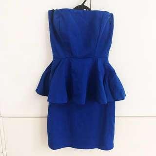 Zara Peplum Dress Small blue